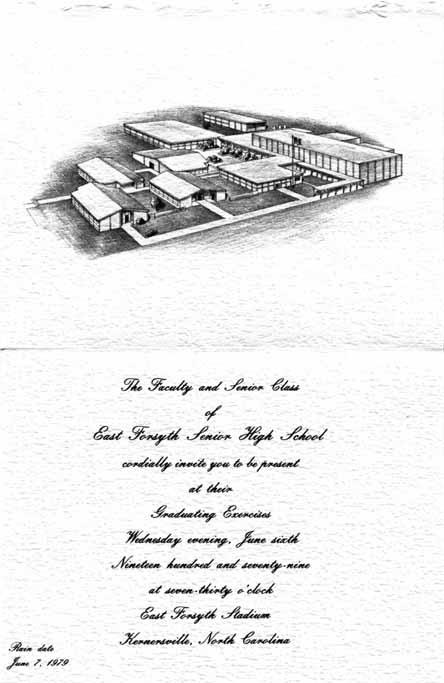 Interior of an invitation to East Forsyth's 1979 graduation
